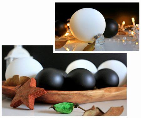 weihnachtsdeko-weihnachtskugeln-dekoideen-schwarz-weiß