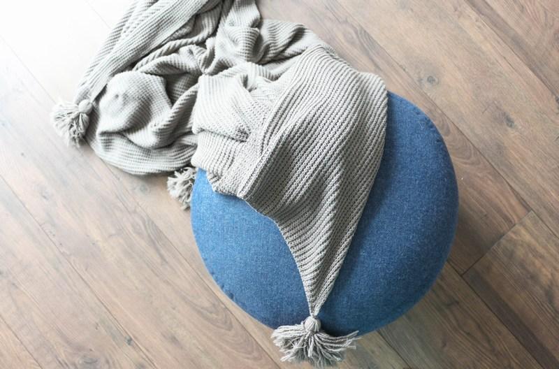 Hübsch Design Pouf blau