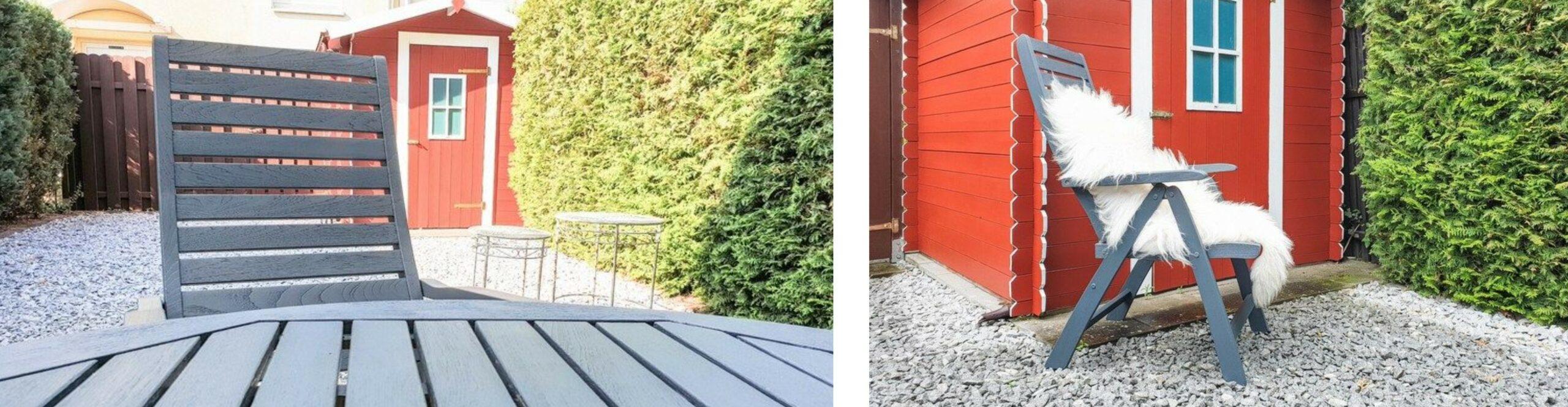 Gartenhütte und Möbel Anstrich skandinavischer Stil Schwedenrot