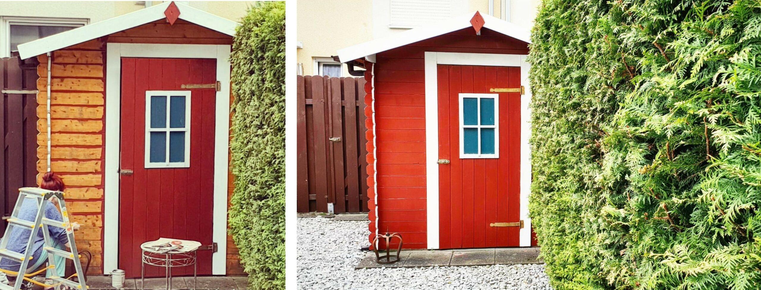 Gartenhütte Anstrich skandinavischer Stil Schwedenrot
