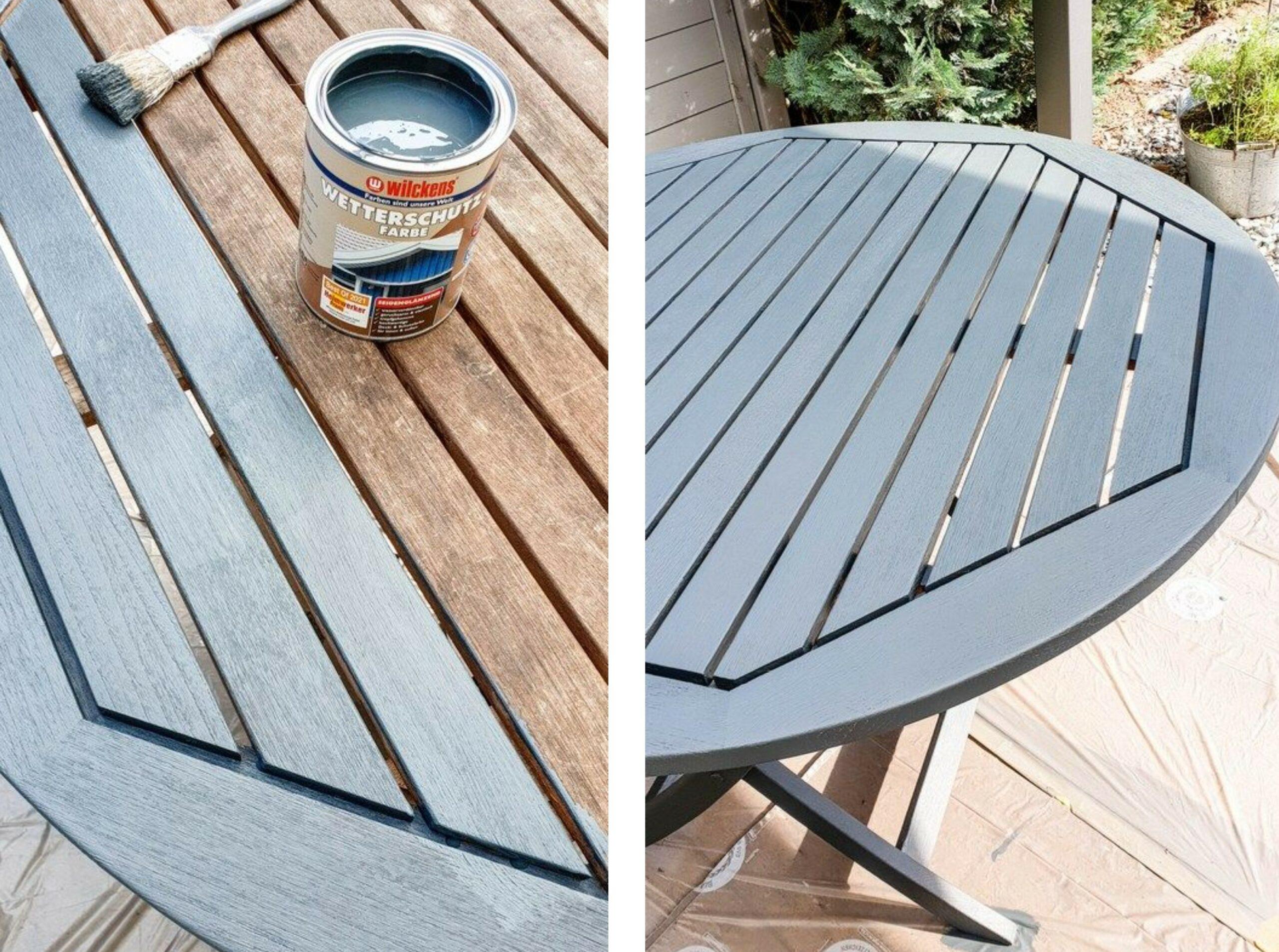 Gartenmöbel streichen Wetterschutzfarbe Grau