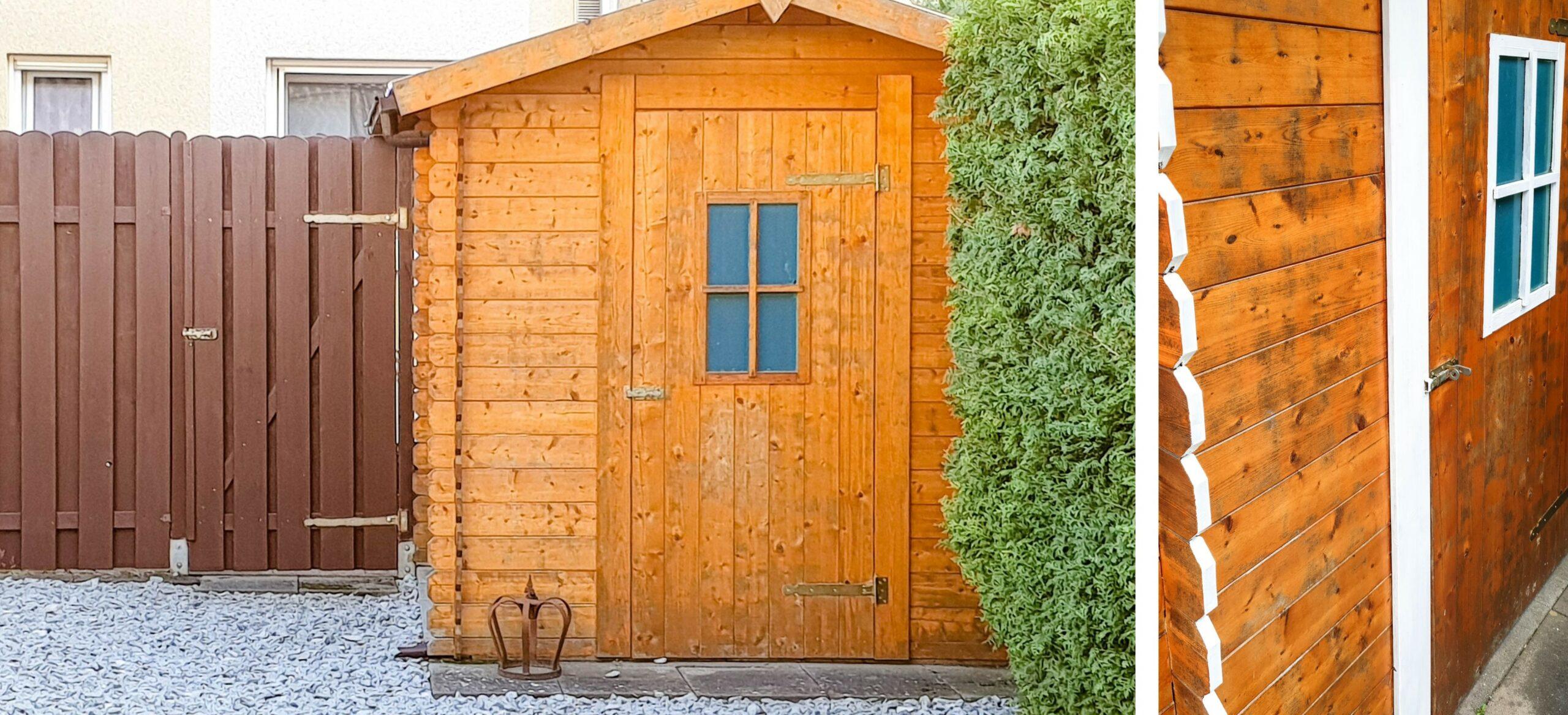 Zaun und Gartenhütte streichen